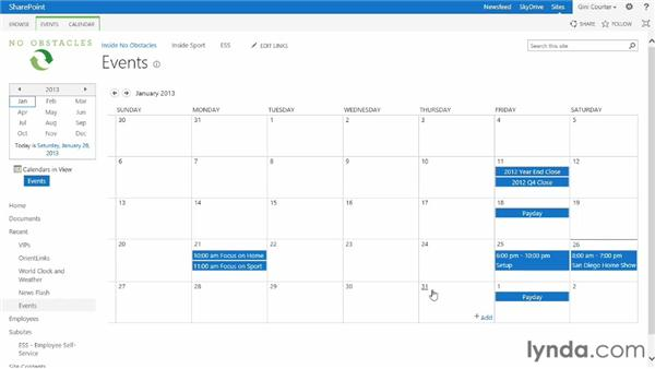 Working with calendar views: SharePoint 2013 Essential Training