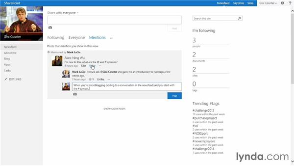 Microblogging in SharePoint: SharePoint 2013 Essential Training