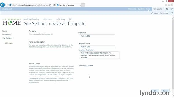 Saving a team site as a template: SharePoint 2013 Essential Training