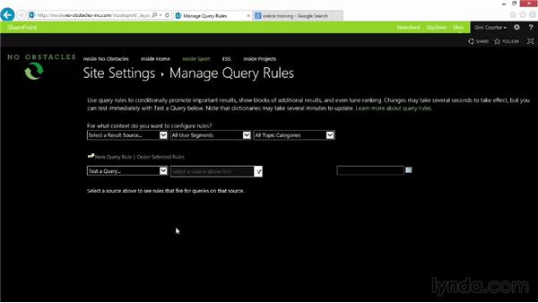 Improving search with query rules: SharePoint 2013 Essential Training