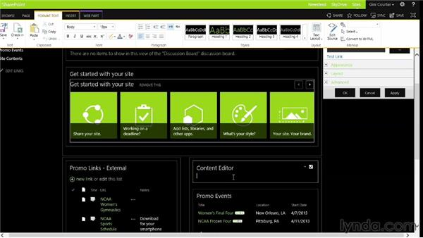 Modifying app and web parts: SharePoint 2013 Essential Training