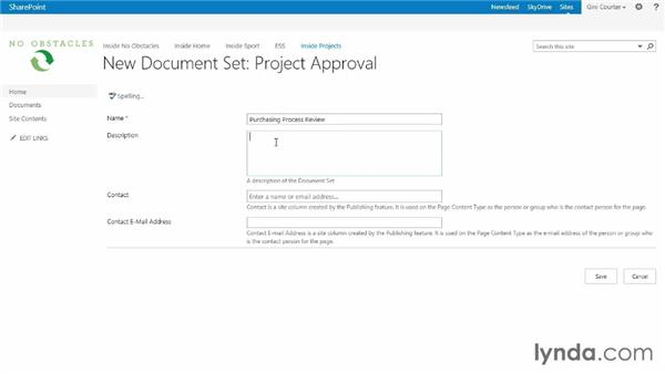 Using a document set in the library: SharePoint 2013 Essential Training