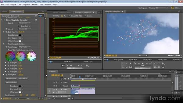 Example three: Layering clips: Color Correction with Premiere Pro CS5.5