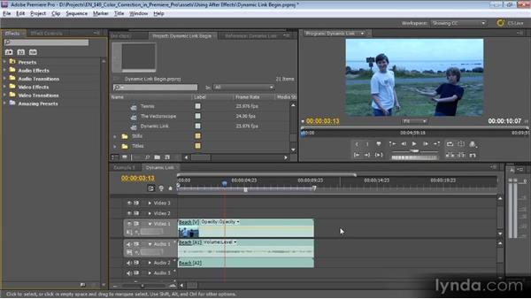 Dynamic Link: Color Correction with Premiere Pro CS5.5
