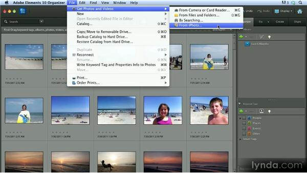 Importing photos from iPhoto (Mac only): Getting Started with Photoshop Elements 10