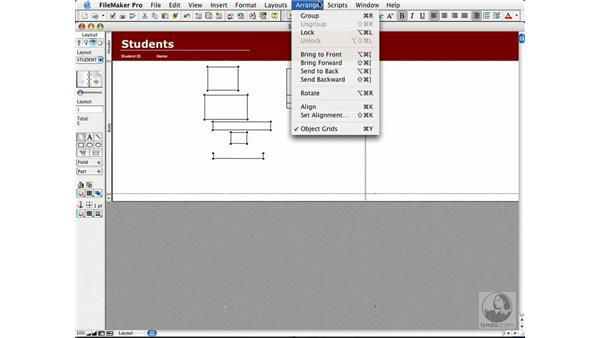 alignment and the grid: FileMaker Pro 7 Essential Training