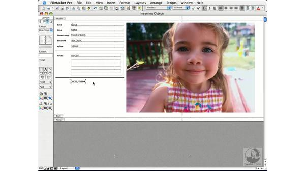 inserting objects: FileMaker Pro 7 Essential Training
