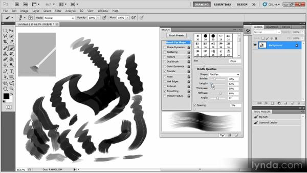Creating a big bristle brush: Creating a Digital Painting with Photoshop CS5