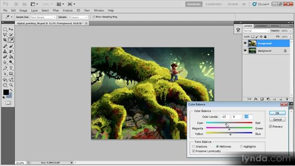 Adjusting the color balance: Creating a Digital Painting with Photoshop CS5