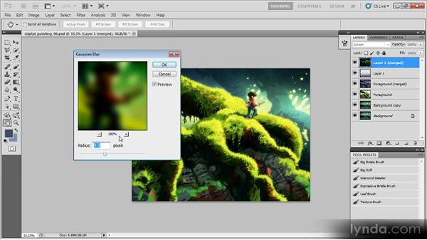 Adding a glow effect: Creating a Digital Painting with Photoshop CS5