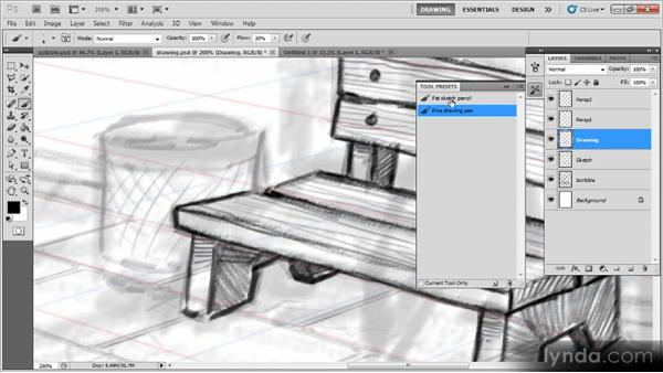 Drawing the park bench and trashcan: Creating a Digital Illustration with Photoshop CS5