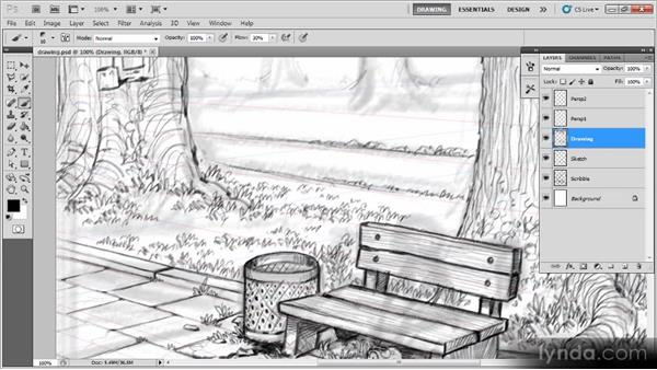 Drawing the rest of the background: Creating a Digital Illustration with Photoshop CS5
