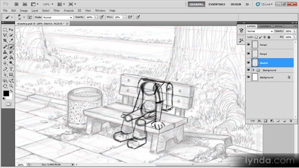 Sketching the character: Creating a Digital Illustration with Photoshop CS5