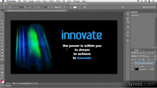 Editing text: Up and Running with Photoshop CS6