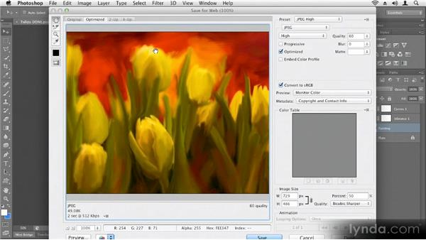 Saving for the web: Up and Running with Photoshop CS6