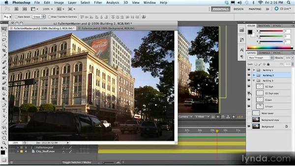 Creating set extensions: Adding buildings to a scene: Advanced Compositing, Tracking, and Roto Techniques with After Effects