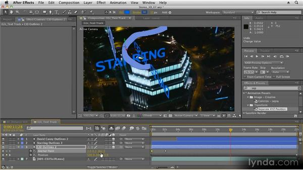 Animating anchor points: Stereoscopic 3D Motion Graphics with After Effects