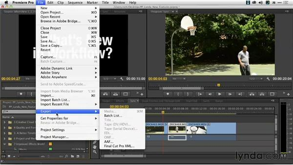 Selective XML and AAF export: Premiere Pro: Creative Cloud Updates
