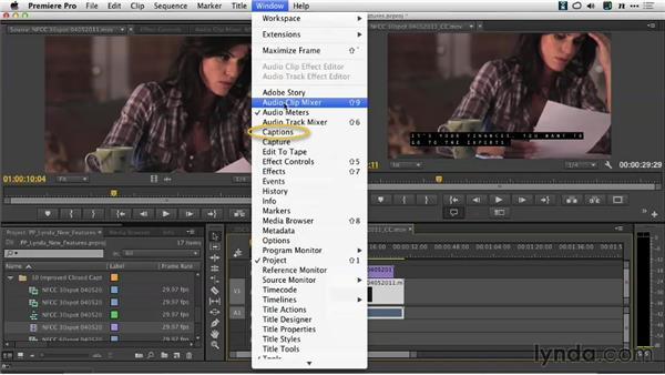 The Captions panel: Premiere Pro: Creative Cloud Updates