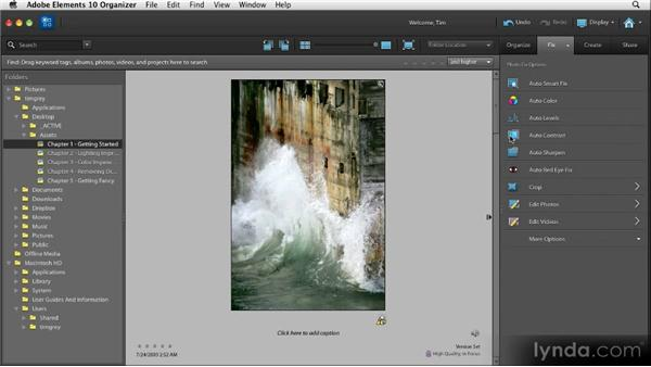 Basic quick fixes in the Organizer: Quick Fixes with Photoshop Elements 10