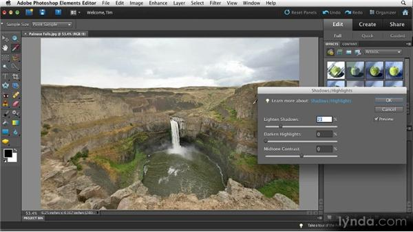 Improving shadows and highlights: Quick Fixes with Photoshop Elements 10