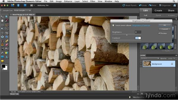 Optimizing brightness and contrast: Quick Fixes with Photoshop Elements 10