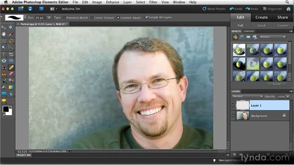 Toning down blemishes: Quick Fixes with Photoshop Elements 10