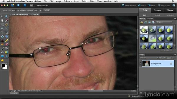 Fixing red-eye: Quick Fixes with Photoshop Elements 10