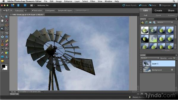 Replacing the sky: Quick Fixes with Photoshop Elements 10