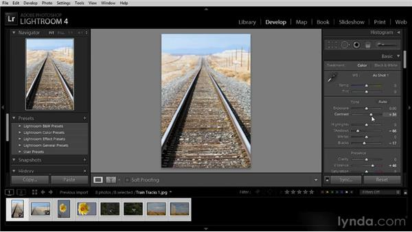 Adjusting multiple images with Quick Develop: Lightroom 4 Image Optimization Workshop