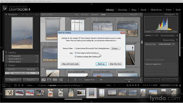 Catalog backup settings: Lightroom 4 Image Management Workshop