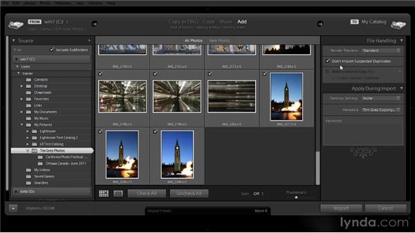 Importing existing images: Lightroom 4 Image Management Workshop