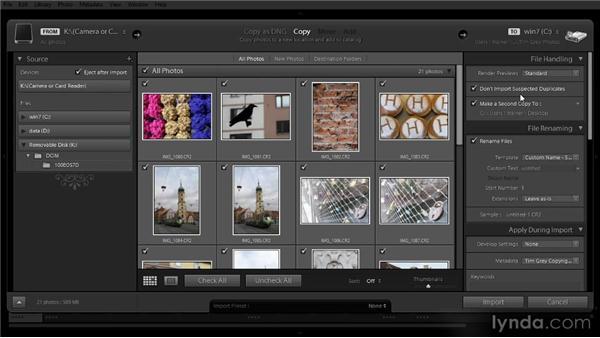 Importing new images: Lightroom 4 Image Management Workshop