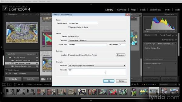 Using tethered capture: Lightroom 4 Image Management Workshop