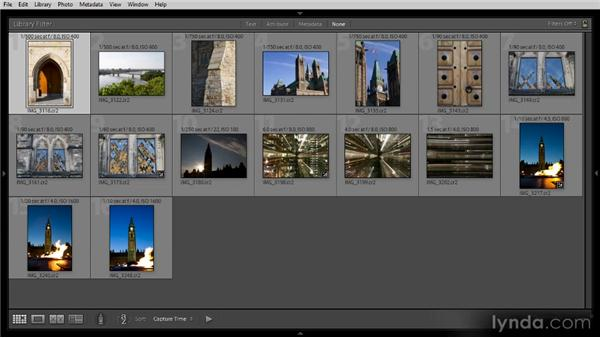 Getting a quick overview of photos with Grid view: Lightroom 4 Image Management Workshop