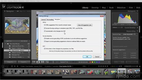Writing metadata to images: Lightroom 4 Image Management Workshop