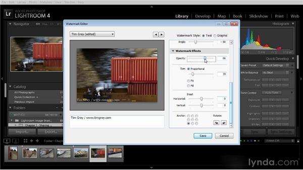 Creating a watermark: Lightroom 4 Image Sharing Workshop