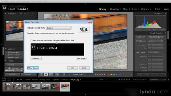 Creating an identity plate: Lightroom 4 Image Sharing Workshop