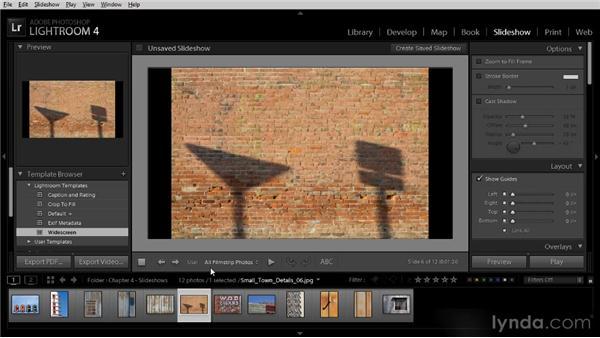 Creating a simple slideshow: Lightroom 4 Image Sharing Workshop
