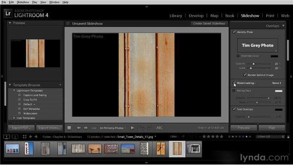 Basic slideshow presentation options: Lightroom 4 Image Sharing Workshop