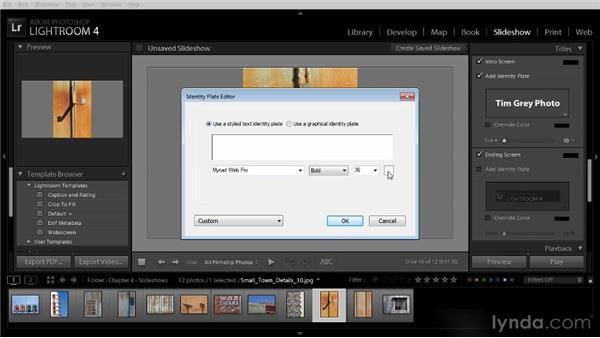 Adding titles to a slideshow: Lightroom 4 Image Sharing Workshop