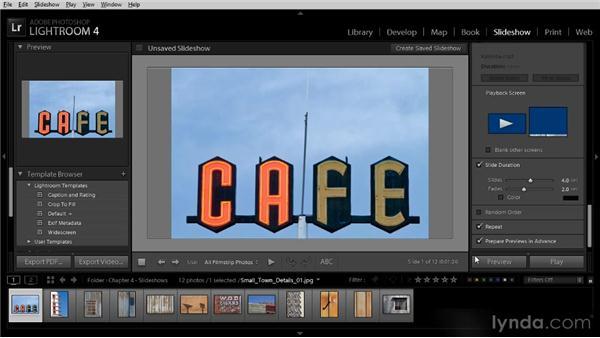 Playing a slideshow: Lightroom 4 Image Sharing Workshop