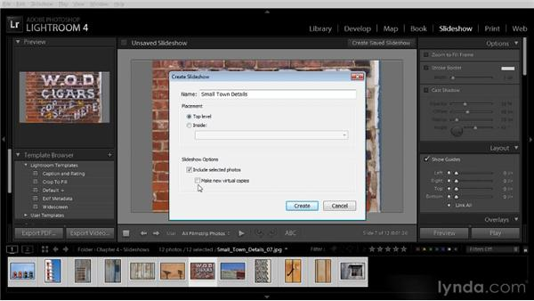Saving a slideshow template: Lightroom 4 Image Sharing Workshop