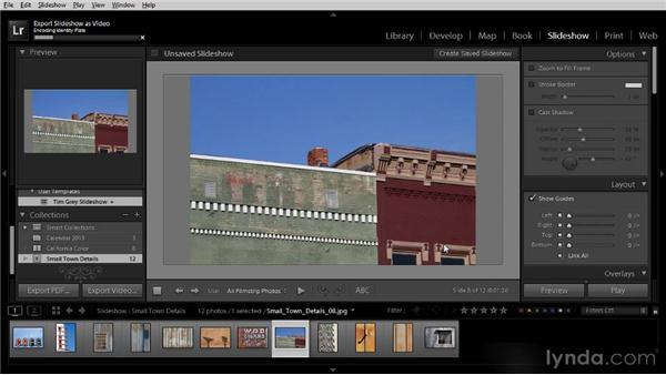 Saving the slideshow as a video: Lightroom 4 Image Sharing Workshop