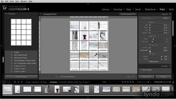 Creating a contact sheet: Lightroom 4 Image Sharing Workshop