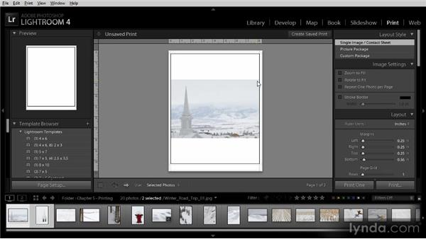 Printing individual images: Lightroom 4 Image Sharing Workshop