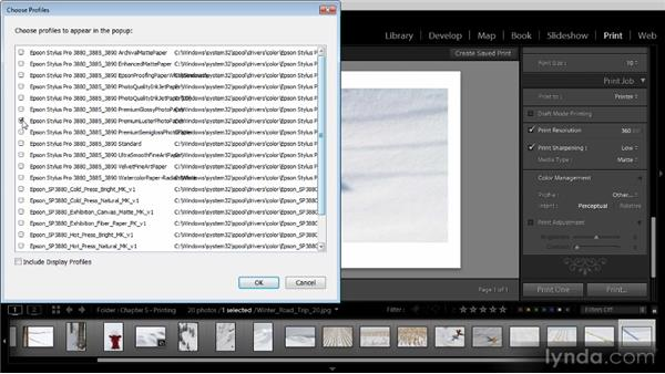Print settings: Lightroom 4 Image Sharing Workshop