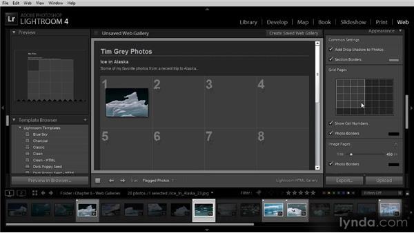 Adjusting gallery options: Lightroom 4 Image Sharing Workshop