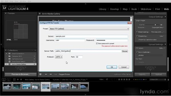 Posting a web photo gallery to your website: Lightroom 4 Image Sharing Workshop