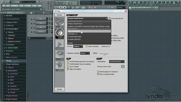 Setting up input/ouput settings: Up and Running with FL Studio